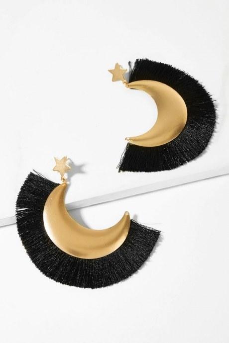 Aretes star tassel - negro