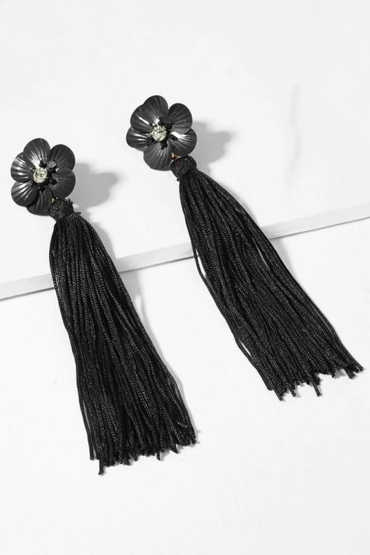 Aretes floral tassel - negro