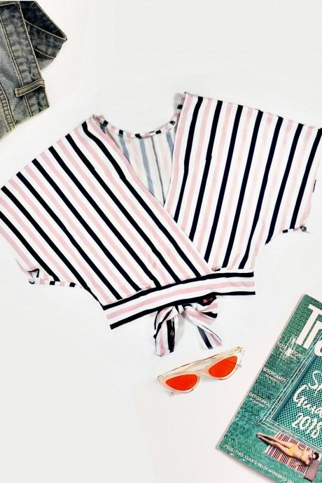 Blusa striped surlplice - azul
