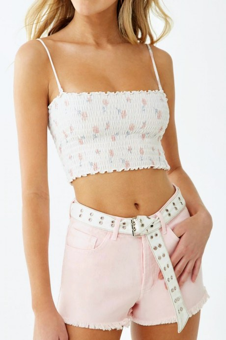 Shorts frayed button - rosado