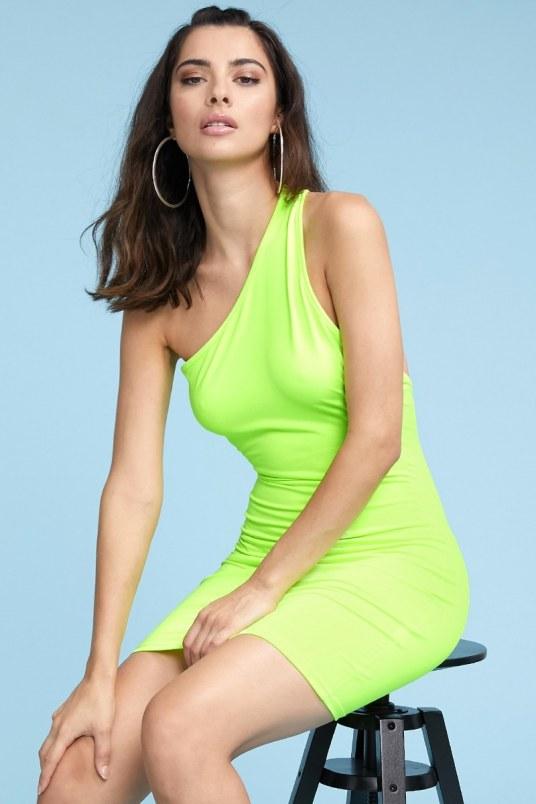 Vestido one shoulder neon - verde