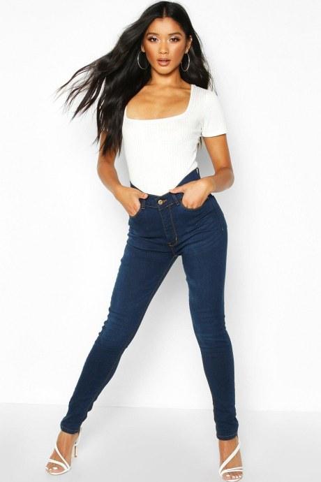 Jeans high rise pocket - azul