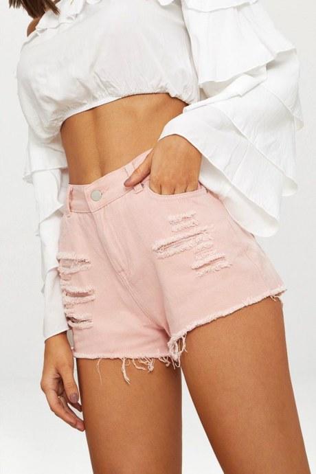 Shorts ripped denim - durazno