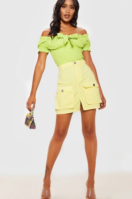 Falda pocket cargo - amarillo