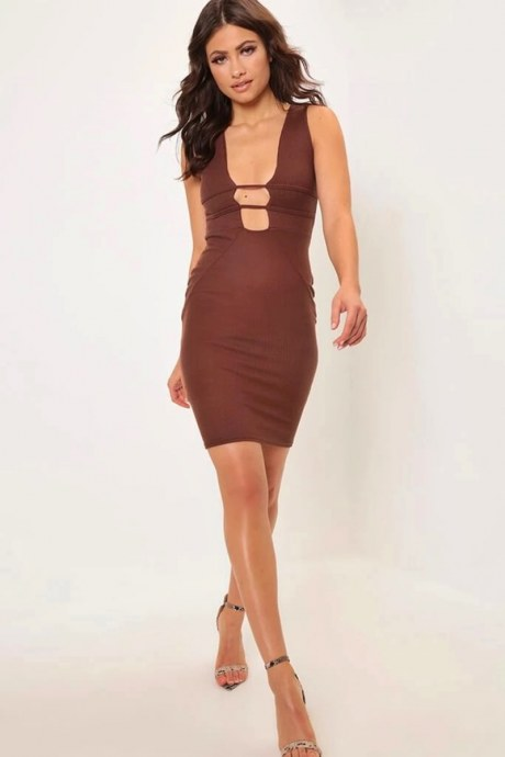 Vestido caged plunge - marron