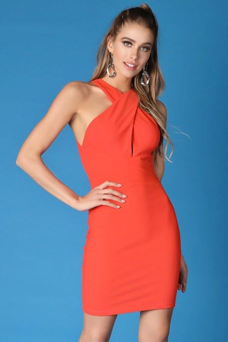 Vestido open back bodycon - anaranjado