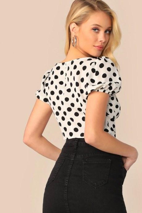 Blusa polka dot bustier - blanco