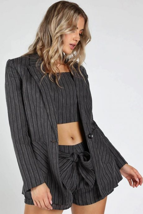 Blazer striped long