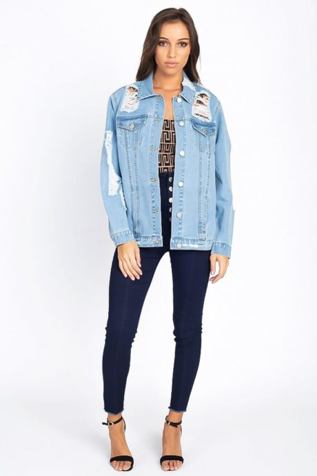 Chaqueta oversized distressed