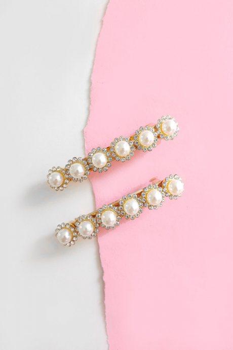 Set de dos ganchos pearl rhinestone