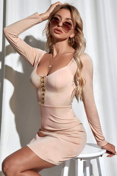 Vestido hook eye bustier