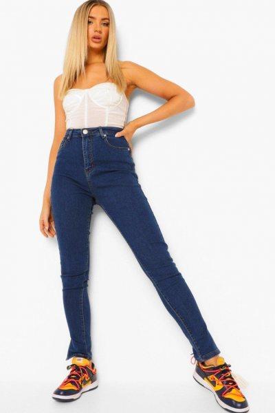 Jeans split hem high waist