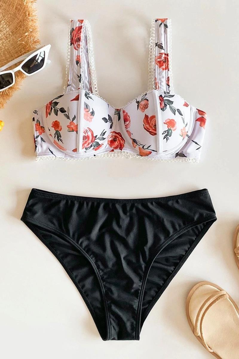 Bikini floral print lace