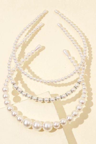 Set 3 diademas pearl decor