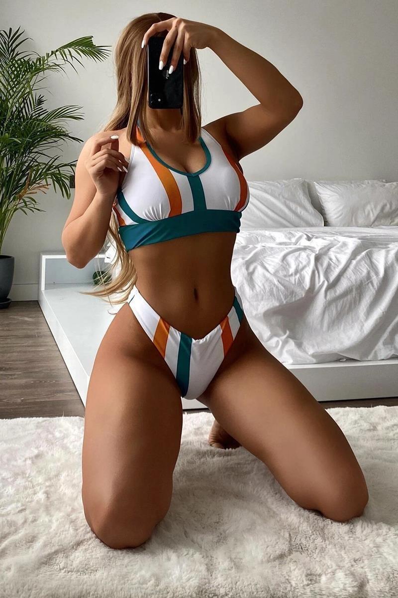 Bikini striped halter